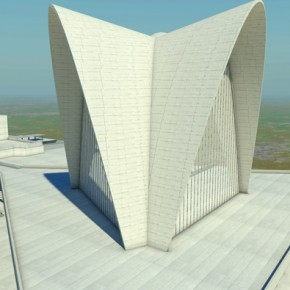 1 - Three-dimensional animation of Nervi's New Norcia Cathedral project, 2011. Courtesy Rene Van Meeuwen