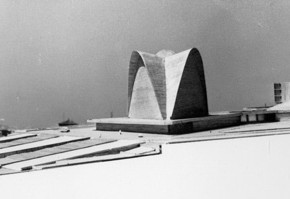 5 - Model of Nervi's scheme of the New Norcia Cathedral and Monastery. In the background is a view of a Roman rooftop. Courtesy New Norcia Archive