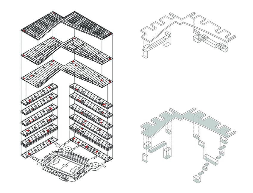 09_Esploso assonometrico, schema della struttura spaziale - Marani Federico