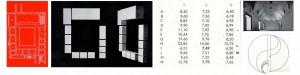 da sinistra: Luciano Laurana e Francesco di Giorgio, Palazzo Ducale di Urbino. Particolare della pianta. L'appartamento degli ospiti e la sala del trono (gruppo A-H) e l'appartamento della Jole (gruppo I-N) costituiscono due sequenze articolate per differenze di quantità di volume. | Rappresentazione schematica delle due sequenze di volumi. | Valori metrici delle due serie di sale: l=lunghezza, L= larghezza, h=altezza. | Grafici dell'allungamento progressivo delle sale nelle due serie A-H e I-N. Le sale F e M non seguono il ritmo crescente delle altre (in basso a destra).| Palazzo Ducale di Urbino, Sala del trono (in alto a destra)