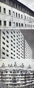 dall'alto: Roma, casa del Seicento sullo stradone di S.Giovanni. | Casa albergo a Milano (1950). | Casa Milà di Anton Gaudì a Barcellona (1909)