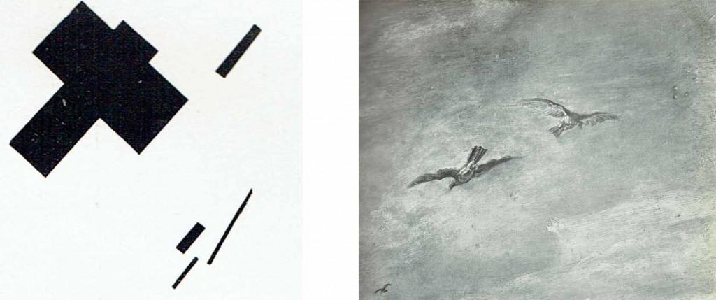 K.Malevich, Sensazione di volo (1915). |  Pietro Paolo Rubens, Il ritorno dai campi, Firenze, Galleria Pitti. Particolare