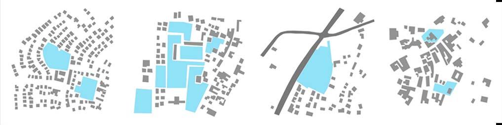 Rappresentazioni schematiche: spazio aperto intercluso| spazio aperto in prossimità di altri spazi | spazio aperto ai bordi della strada| spazio aperto in relazione a luoghi peculiari della città