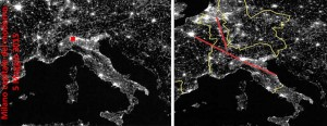 a sinistra Immagine satellitare dell'Europa di notte| a destra la stessa immagine con la ripartizione carolingia del territorio e la linea della direzione (Costantinopoli) Ravenna-Parigi-Londra e Milano il bivio per la Valle del Reno .