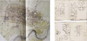 Il rilievo della città e la mappa in scala.