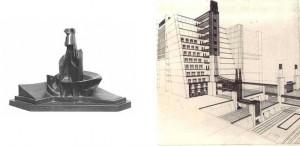 a sinistra: Boccioni, Sviluppo di una bottiglia nello spazio, 1912-13| a destra: Sant'Elia, Città futurista, 1913-14