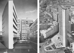 a sinistra: L.Moretti, Complesso polifunzionale in Corso Italia | a sinistra: G.Ponti, grattacielo Pirelli