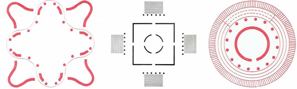 da sinistra: Schema della piazza d'oro nella Villa Adriana a Tivoli, II secolo. | Schema della rotonda di Andrea Palladio in Vicenza. | Schema planimetrico del tempietto di S.Pietro in Montorio del Bramante a Roma