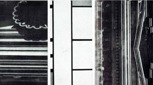 Img.1  Michelangelo: Palazzo Capitolino in Roma (esecuzione di Prospero Burcapaduli e Tomaso dei Cavalieri). Particolare delle modanature superiori di una finestra | Piet Mondrian (1872-1944): Composizione |  Michelangelo, Palazzo Capitolino, particolare del cornicione e fastigio del finestrone centrale aggiunto da Giacomo del Duca.