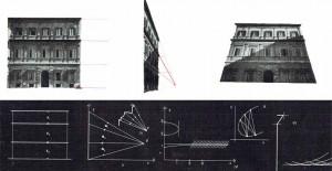 Img. 2: Baldassarre Peruzzi: Palazzo Ossoli in Roma, Via de' Balestrari. Proiezioni prospettiche della fronte. | Relazioni tra gli spazi individuati dalle cornici e tra le loro proiezioni.