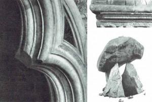 Img.3: Nicola Pisano con Arnolfo di Cambio e aiuti: Pergamo del Duomo di Siena (1265), archetto trilobo, particolare. |  Louth, Irlanda: Dolmen di Proleek | Volterra, Museo Guarnacci: Urna cineraria etrusco-romana, particolare.