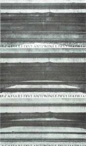 Img.7: Michelangelo. Base della statua equestre di Marco Aurelio A.P. in Roma. Cornice superiore, lato di ponente. Variazione delle ombre (marzo, 13,14,15)