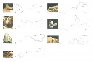 schizzi di studio e fotografie delle parti che compongono il progetto finale