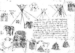 Leonardo, schizzi sulla pianta centrale