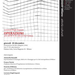 """Presentazione - Lorenzo Degli Esposti """"Operazioni (in arte e in architettura)"""" con un saggio sulla sprezzatura @ Palazzo Litta."""