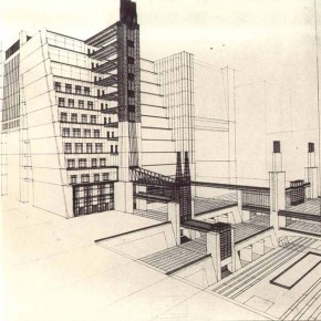 1914 Antonio Sant'Elia. Stepped-back house with elevators serving 4 road levels